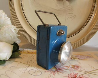 Vintage French superb old metal tole blue torch light.