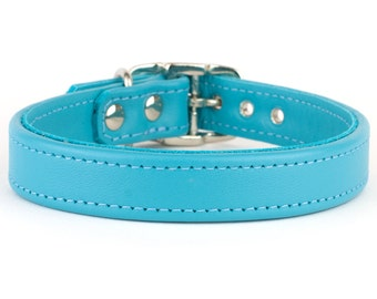 Turquoise Leather Dog Collar - Handmade in the UK