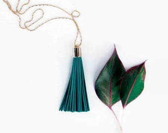 Boho Necklace - Long Tassel Necklaces Teal Leather