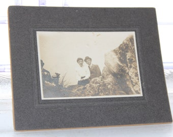 Edwardian Man and Woman Cabinet Card Photograph Antique 1800s