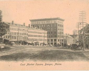Vintage Postcard, Bangor, Maine, East Market Square, ca 1910