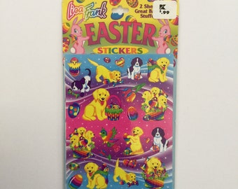 Vintage Lisa Frank Stickers Easter Casey Yellow Lab Dog 2 Full Sheets New in Packaging