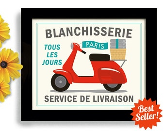 Laundry Sign Wall Art Print Blanchisserie French Laundry Room Decor Laundry Paris France Modern Design Motor Scooter Bathroom Art