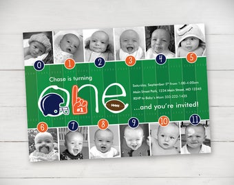 Football Timeline First Birthday Invitation – Your Choice of Team Colors
