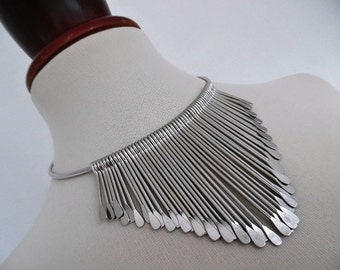 THE SILVER PHARAOH . Modernist Austere Egyptian Cleopatra Bib Spikes Necklace