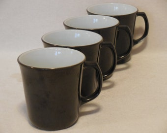 Black Pyrex Diner Coffee Mugs with White Interior, D Handle