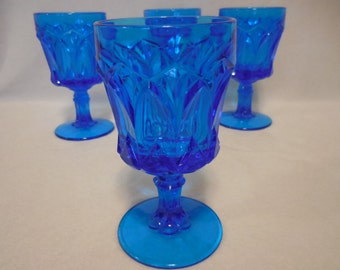 Blue Red Cliff  Water / Wine Goblets, Fenton