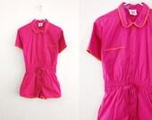 Vintage 1980s Hot Pink Romper 80s Romper Pink Romper 80s One Piece Playsuit Peter Pan Collar Romper Small Medium