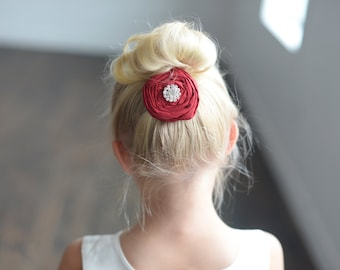English Rose: Flower girl hair clip in pure silk available in many different colours, flower girl hair clip