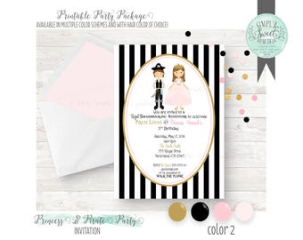 PRINTABLE INVITATION. Princess and Pirate Birthday Party. Jpeg or PDF file. Includes Hair Color & color of Choice