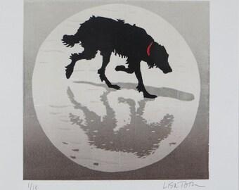 Woodblock Print: Shadow Dog