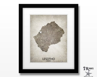 Lesotho Africa Map Art Print - Home Is Where The Heart Is Love Map - Custom Map Art Print Available in Multiple Size & Color Options