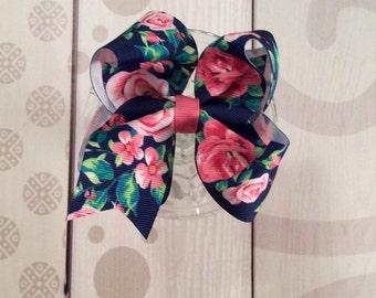Navy blue flower bow, victorian bow, roses, blue hair bow, pink roses hair bow, rose bow, rose hair clip, blue and pink bow, hair clip