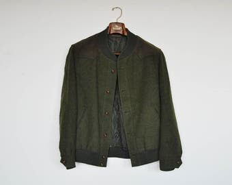 Vintage Hunter Green Wool and Faux Suede Mens Field Jacket