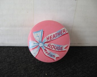 Vintage Heather Rouge-Makeup-Powder Tin  Pink bow graphics  with puff
