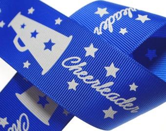 """1.5"""" Cheerleader Blue Printed Grosgrain - Three, Five, or Ten Yards"""