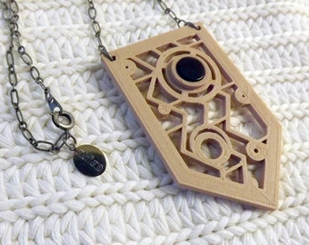3d Printed Pendant with Onyx Semi Precious Stone Inlay 22 inch Silverplate Necklace Bamboo Silver Copper Metal Infused Recyclable PLA Vegan