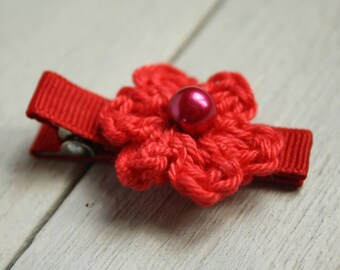 Pillar Box Red Crochet Flower Alligator Hair Clip