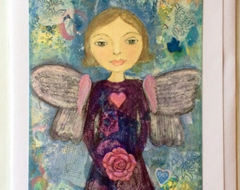 Fairy Rose - A5 Blank Greetings Card From Original Mixed Media Painting