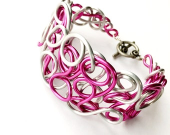 Pink Silver Mixed Wire Cuff Bracelet Unique Jewelry