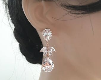 Wedding Bridal Earring LARGE Rose Gold White Clear Pear Shaped Cubic Zirconia Orchid Leaf Petal CZ Peardrop Rose Gold Plated  Post Earring