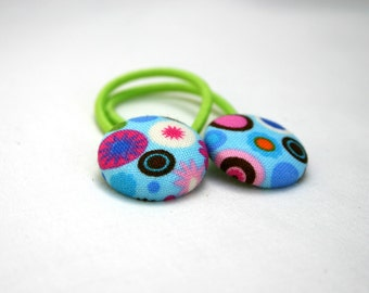 Groovy Blue Spots Hair Elastics - Set of 2 - Ideal Gift - 23mm - Pony Tail Holder