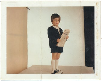 Little Boy in Blue vintage original Polacolor art Photography photo snapshot