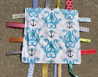 Octopus Tag Blanket with your choice of Minky // In Stock, READY TO SHIP