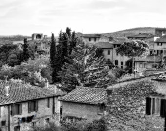 Tuscan Hillside With Historical buildings & hanging laundry in diffusion