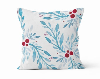 Pillow Cover, Blue Red Abstract Leaves Original Watercolor Art, Throw Pillow Case w/optional insert, Throw Pillow, Blue Red White