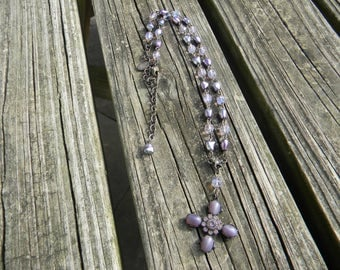 Retired Kirk's Folly Cross with Purple Pearls and Lavender Aurora Borealis Crystals