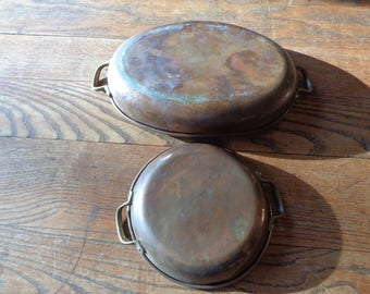 2  Teflon Coated Copper Au Gratin Pans in different sizes with solid brass handles that can go in your oven in Vintage Condition