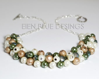 Sage, Taupe and Off White Pearl Cluster Necklace, Chunky Pearl Necklace, Sage & Beige Pearl Necklace, Pearl Cluster Necklace, Sage Wedding