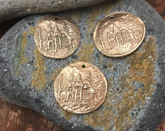 Bronze House in the Forest Pendant Charm