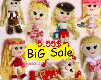 BiG Sale Lily and Outfit Series1 (7 styles): Changeable Clothes Crochet Doll and 7 styles Outfits Pattern ( PDF only )