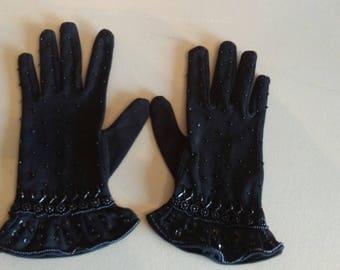 Vintage black beaded gloves so elegant!