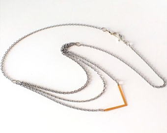 Long necklace, chains, multi-stranded, stainless steel, 2-tone, versatile, Quebec creation, Fashionista on the loose