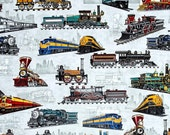 Quilting Treasures - Full Steam Ahead by Dan Morris - Train All Over - Grey