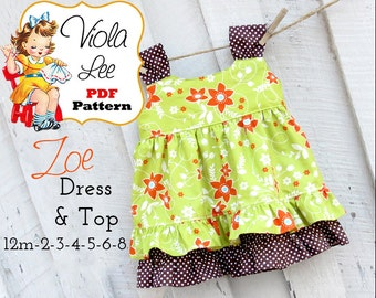 Zoe. Girls Dress Pattern. Girls Top Pattern. Jumper Pattern, Toddler Dress Pattern. Girl's pdf Sewing Pattern. Sewing Pattern. Girls Dresses
