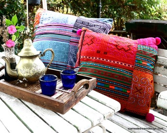 Custom Made Large Boho Pillow In Hmong Embroidery And Batik Patchwork, Pom Poms, Fringe, Tassels - FREE Worldwide Shipping