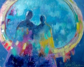 """Original Abstract Spiritual Painting, Blue Angel Artwork, Small Modern """"They Share a Halo"""" 11x14"""