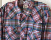 SALE - Vintage Snap Shirt Western Penneys Ranch Craft Plaid Rose Sage Dusty Blue L XL  17 33