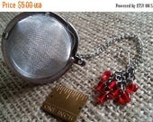 Etsy On Sale Tea Diffuser w Beautiful Red Crystal Hearts,Valentine, Large 2in Tea Strainer, 4.5inch chain,Seven 5mm Crystal Hearts,Tea Time,