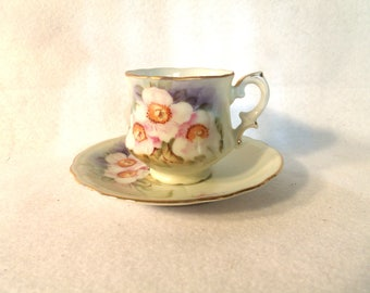 Demitasse Cup and Saucer, Lefton China, Magnolia