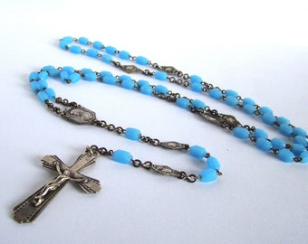 Ca 1930 French Blue Glass Rosary