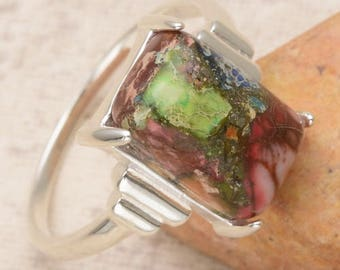 MULTI Color Copper TURQUOISE gemstone sterling silver ring  size 7.5  rectangular shape SALE!