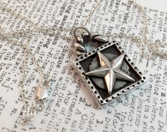 Star, Framed, Twisted Arch, Silver, Sterling Silver