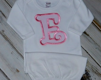 Applique Initial Long Sleeve Baby Gown