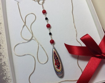 Fordite, Detroit Vintage Car Paint Pendent - Hand Cut Stone Lariat Necklace Sterling Silver with Coral and Black Onyx accent beads