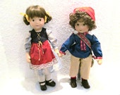 RESERVED Lenci Style Scandinavian Doll Set Boy & Girl Nordic Sami Finland Norway Sweden Handpainted Cloth Dolls - Includes Metal Doll Stands